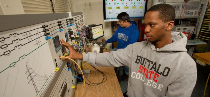 Electrical engineering students in the Smart Grid Lab